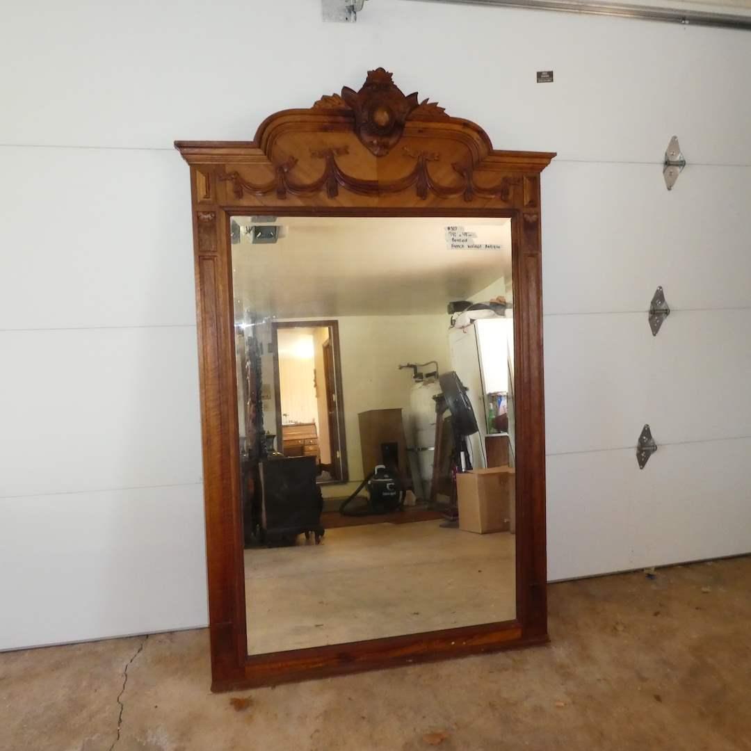 Lot # 307 - Large Antique French Walnut Framed Mirror (Beveled) (main image)