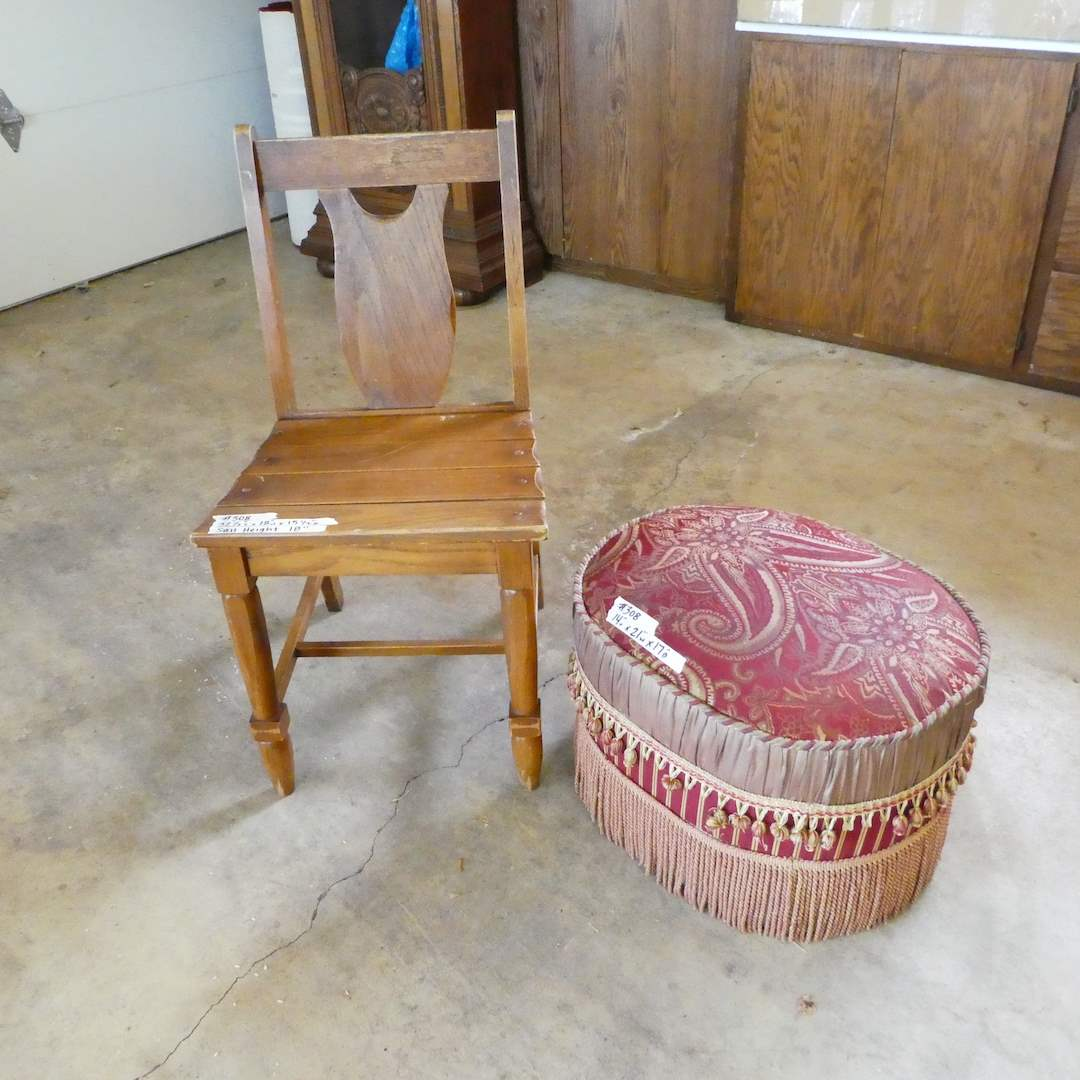 Lot # 308 - Vintage Solid Wood Chair and Small Ottoman  (main image)