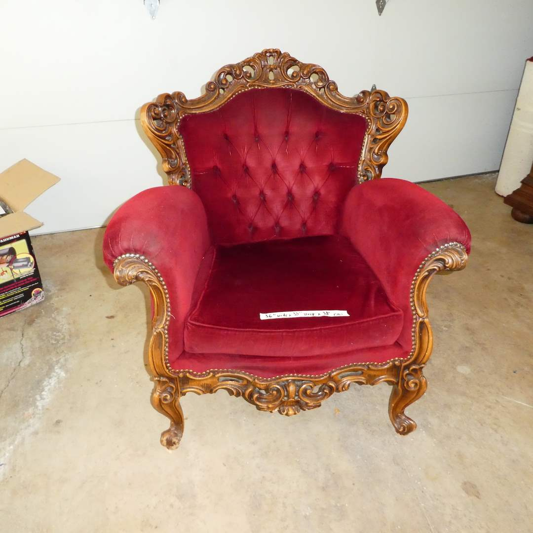 Lot # 312 - Antique Victorian Red Velvet Chair w/ Claw Feet (main image)
