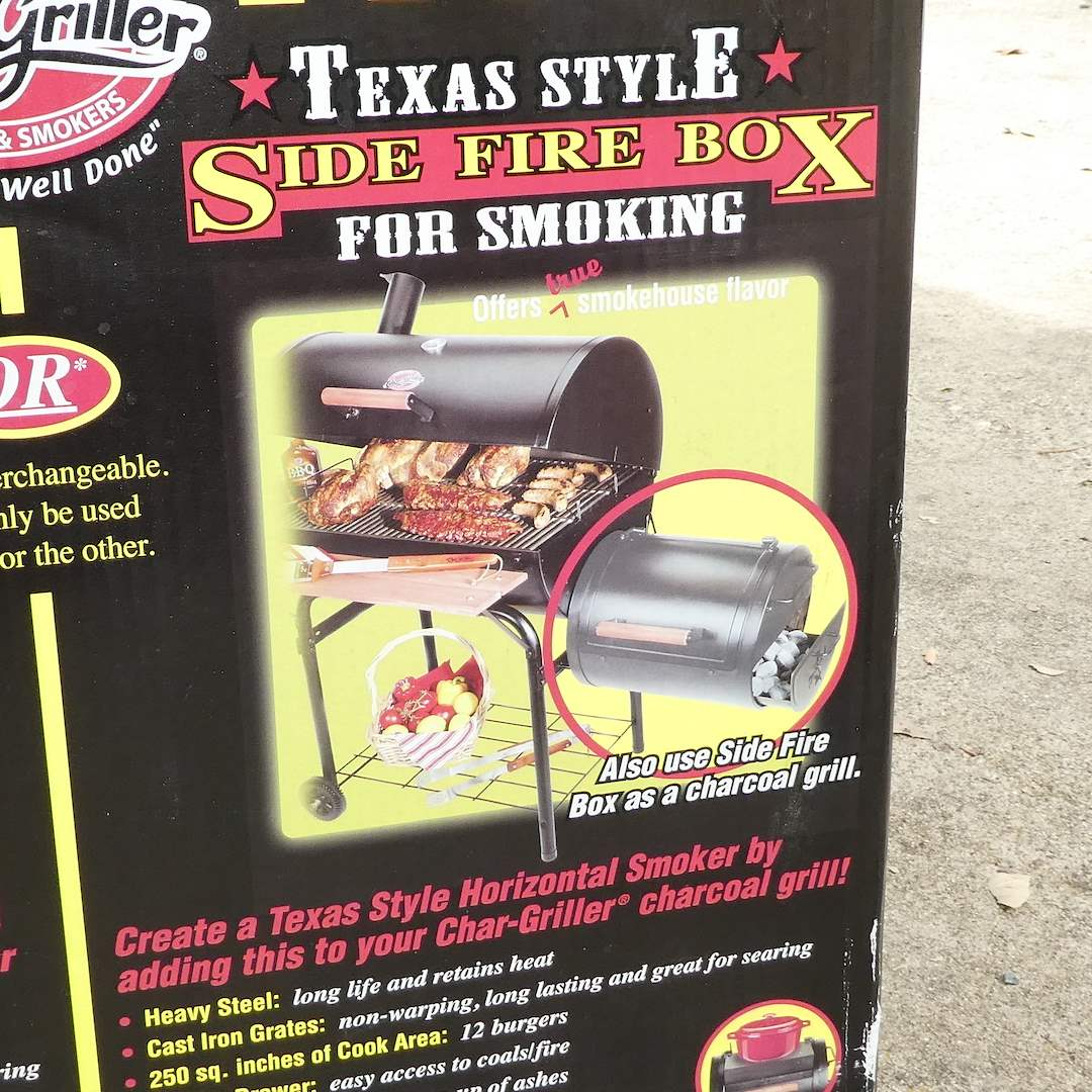 "Lot # 313 - Brand New ""Professional Char- Griller"" Charcoal Grill or Side Fire  Box For Smoking (main image)"