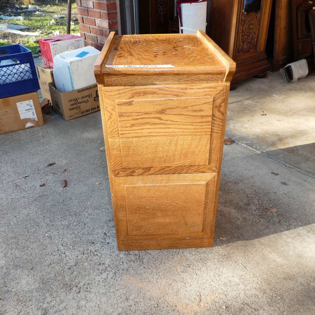 Lot # 314 - Two Drawer Solid Wood File Cabinet (Dovetail Drawers)(Top needs TLC Ink Marks) (main image)