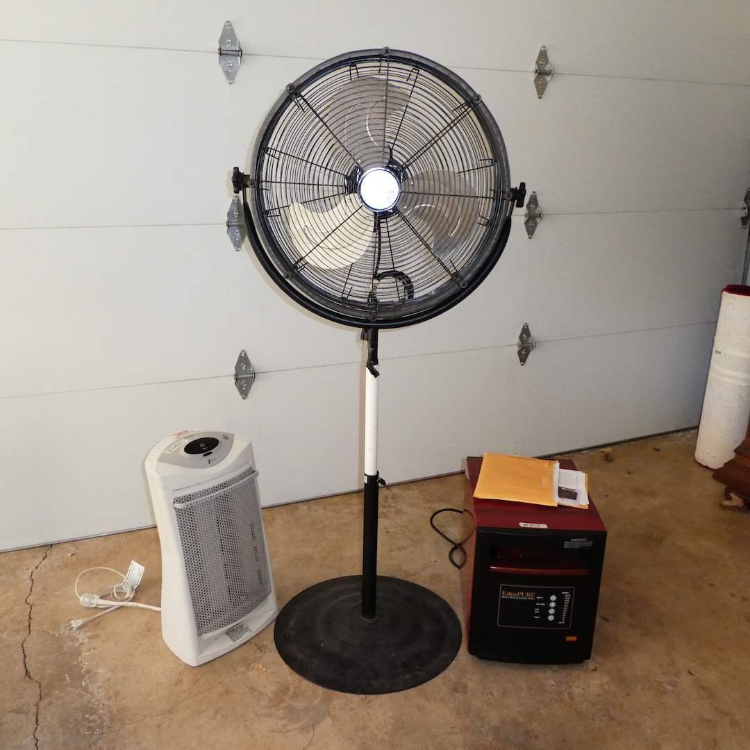 "Lot # 315 - Ulititech Pedestal Fan, Holmes ""1touch"" Heater and EdenPURE Quartz Infared Portable Heater  (main image)"