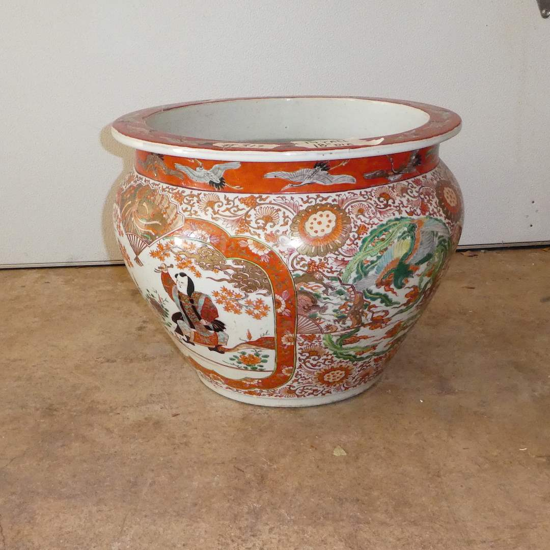 Lot # 317 - Beautiful Large Vintage Oriental Pot (Has Repairs) (main image)