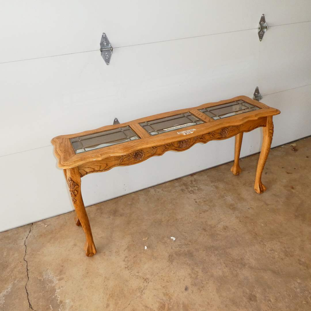 Lot # 318 - Vintage Claw Foot Sofa Table w/ Three Glass Top Inserts (Beveled Glass w/ Metal Accents) (main image)