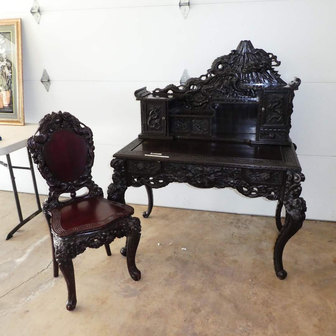 Lot # 319 - Beautiful Solid Wood Antique Japanese Hand Carved Desk (Mt. Fuji)(Meiji Period) w/ Matching Chair (main image)