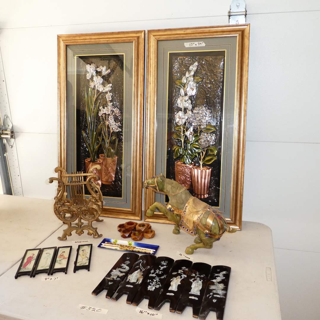 Lot # 320 -Misc Oriental Decor Lot (Silk Art, Resin Horse, Miniature Folding Table Screens and More) (main image)