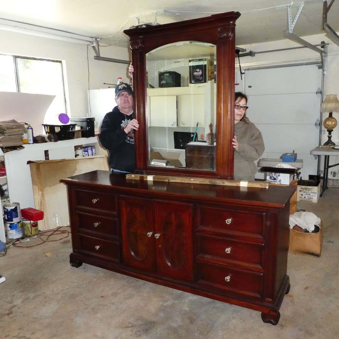 "Lot # 323 - Thomasville Solid Wood Triple Dresser and Mirror (Plant Cut)(33 1/2""T x 75 1/2""W x 19""D) (main image)"