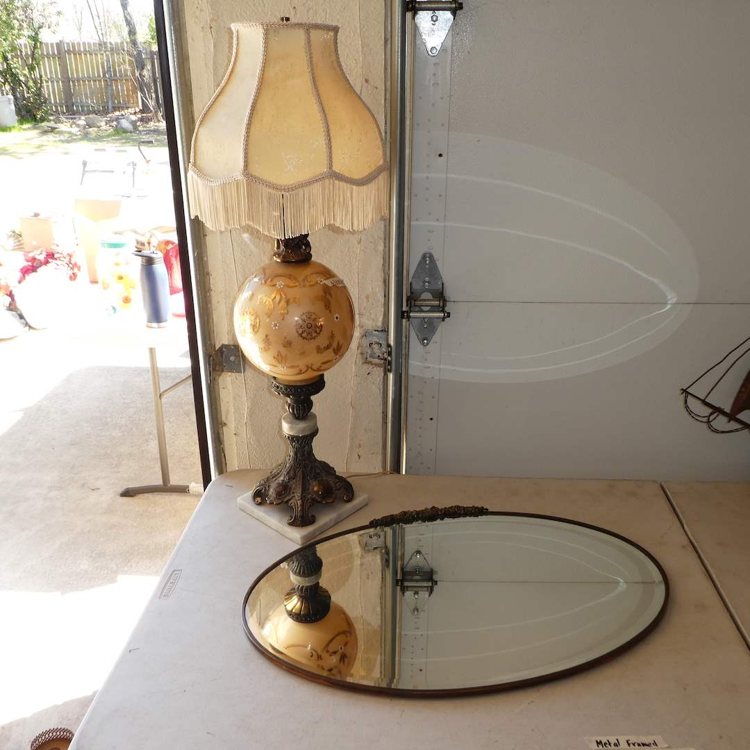 Lot # 325 - Vintage Lamp w/ Brass and Marble Base and Antique Oval Beveled Mirror (Heavy Glass) (main image)