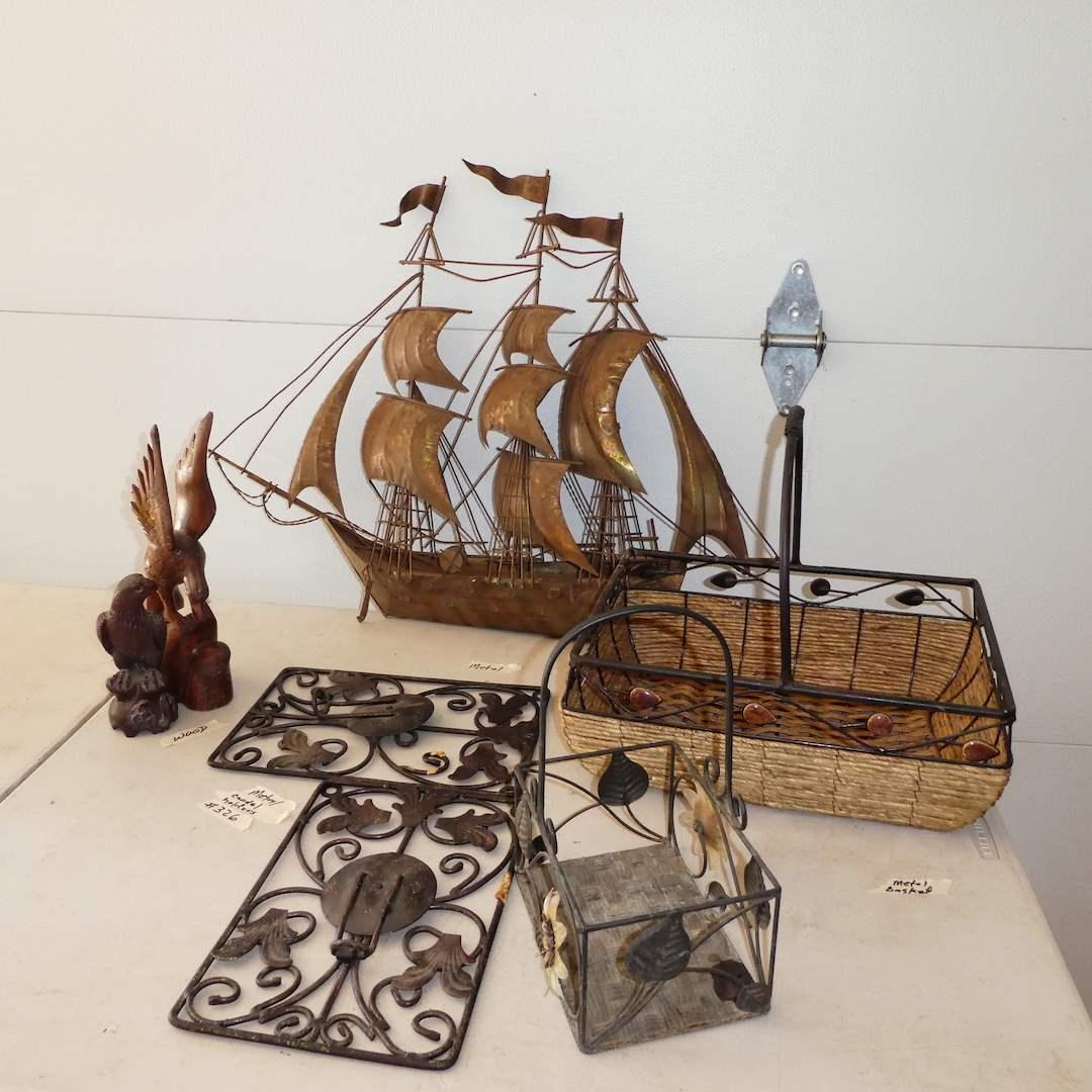 Lot # 326 - Metal Ship Decor, Candle Wall Mounts, Baskets and Wood Eagles (main image)