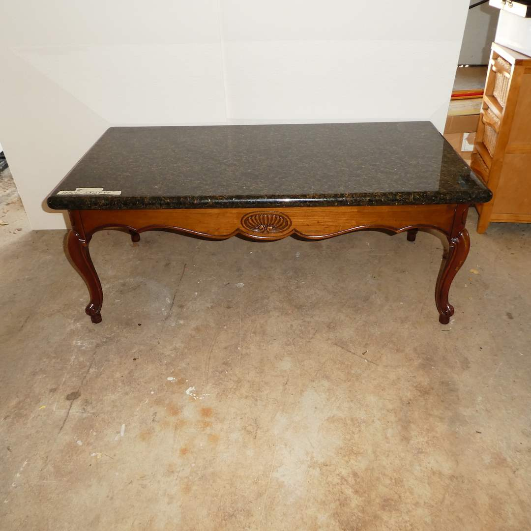 Lot # 328 - Vintage French Style Coffee Table w/ Granite Top (main image)