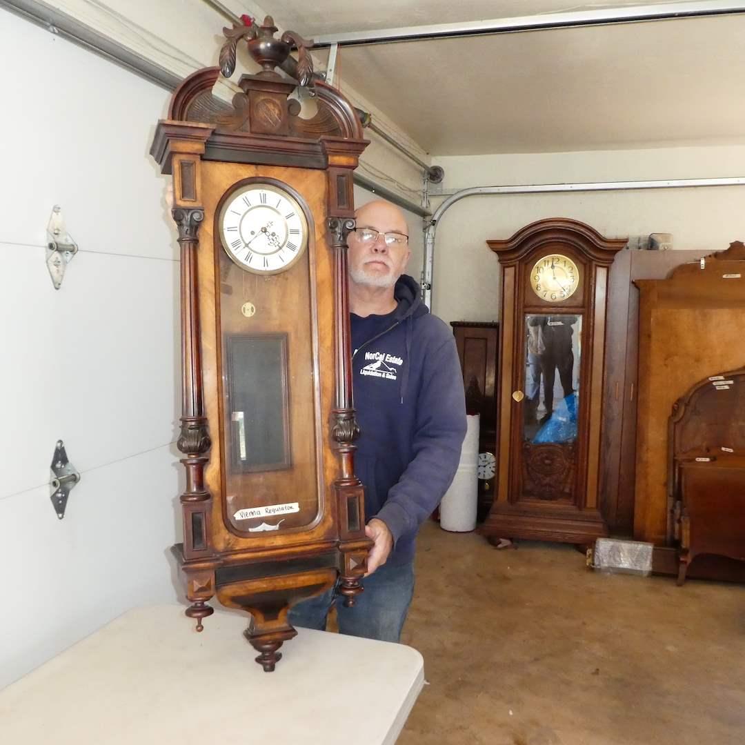 Lot # 329 - Antique Vienna Regulator Wall Clock (Will Run)(Was Running Until Owner Stopped Winding Clock) (main image)