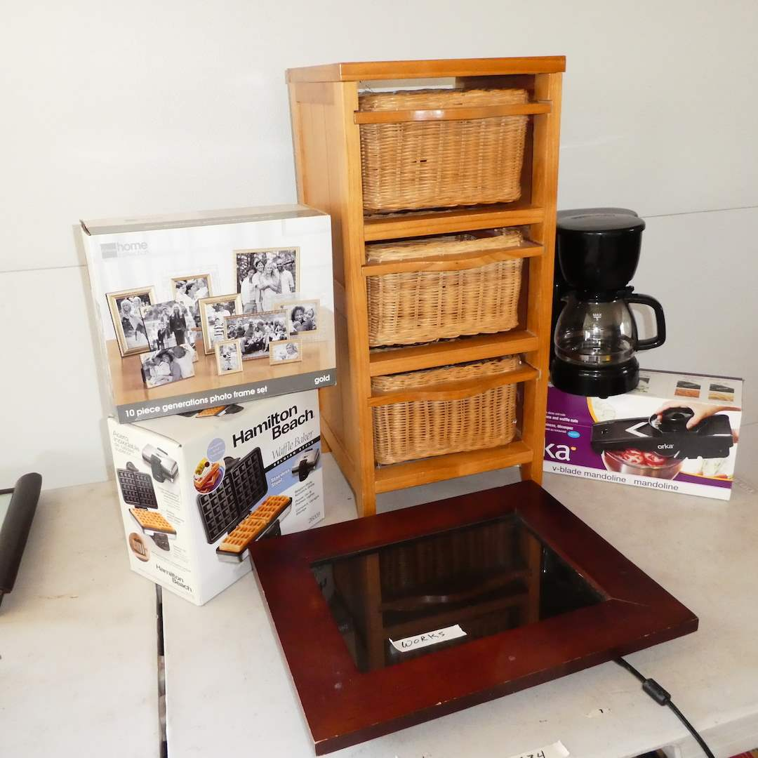 Lot # 334 -Lot # 334 -3 Drawer Storage, Hamilton Waffle Baker, Electric Picture Frame, Brand New in Box Frames and Coffee Pot (main image)
