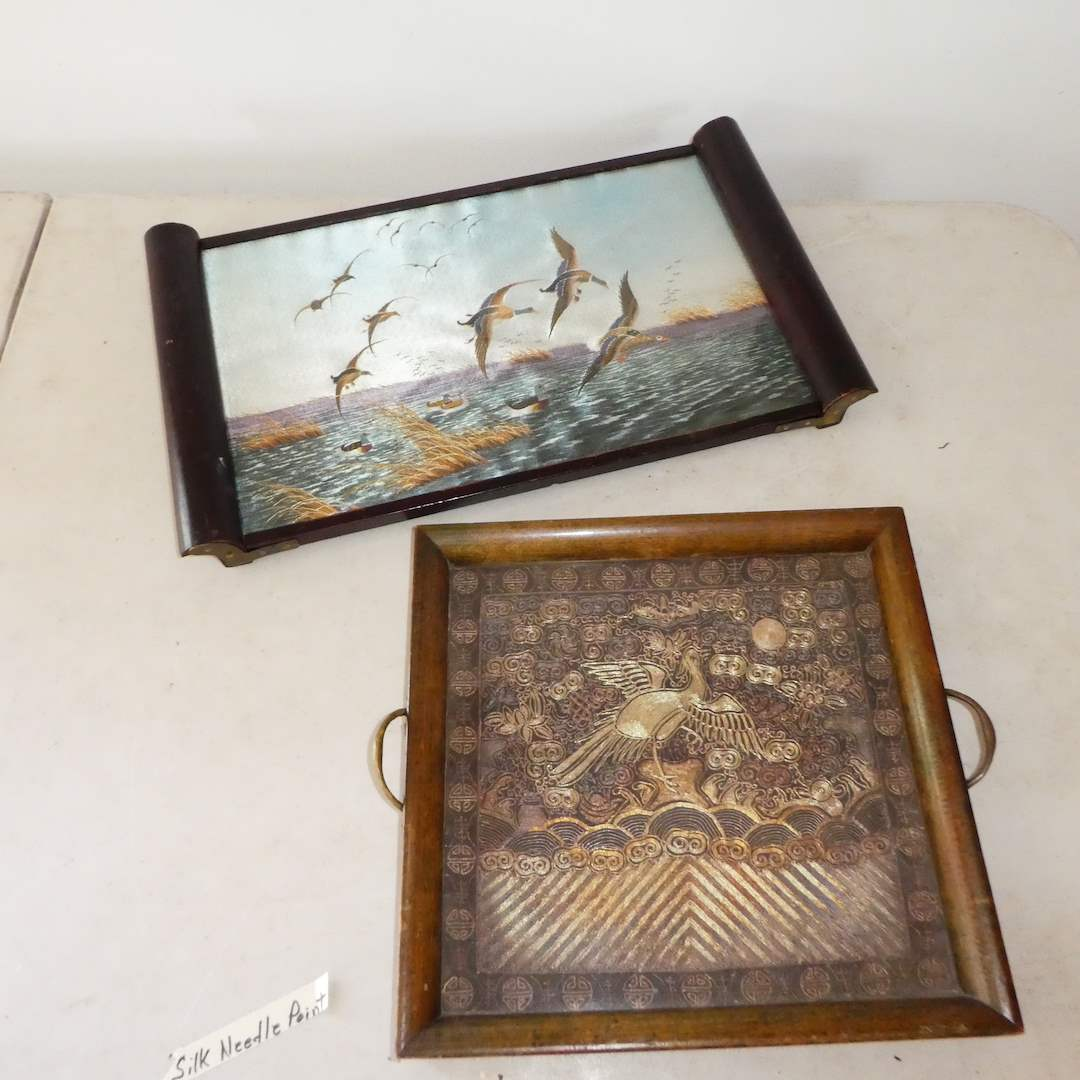 Lot # 335 - Vintage Embroidered Silk Art Trays (Tray w/  Duck Scene is Japanese) (Both Under Glass) (main image)