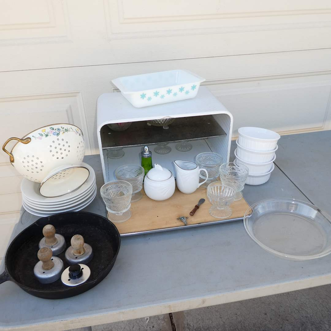 """Lot # 337 - Vintage Kitchen Lot (Small """"Snow Flake"""" Pyrex baking Dish, Bread Box w/ Chrome Door, Biscuit Cutters and More)   (main image)"""