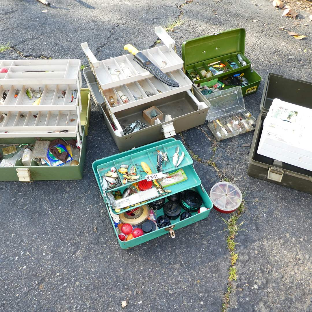 Lot # 341 - Vintage Fishing Tackle Boxes w/ Lures and More (main image)