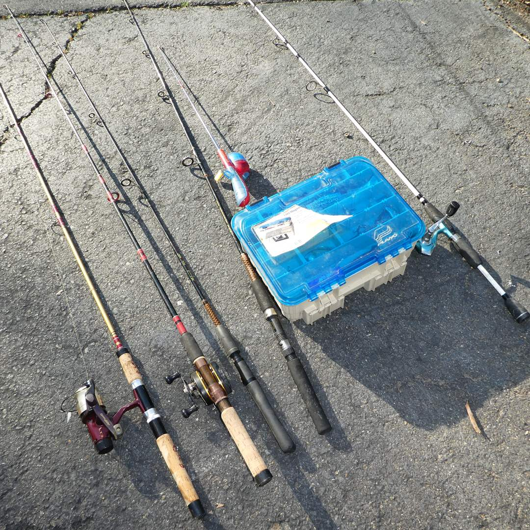 Lot # 343 - Variety of Fishing Poles, Reels and Tackle Box w/ Misc Tackle (See all Photos) (main image)