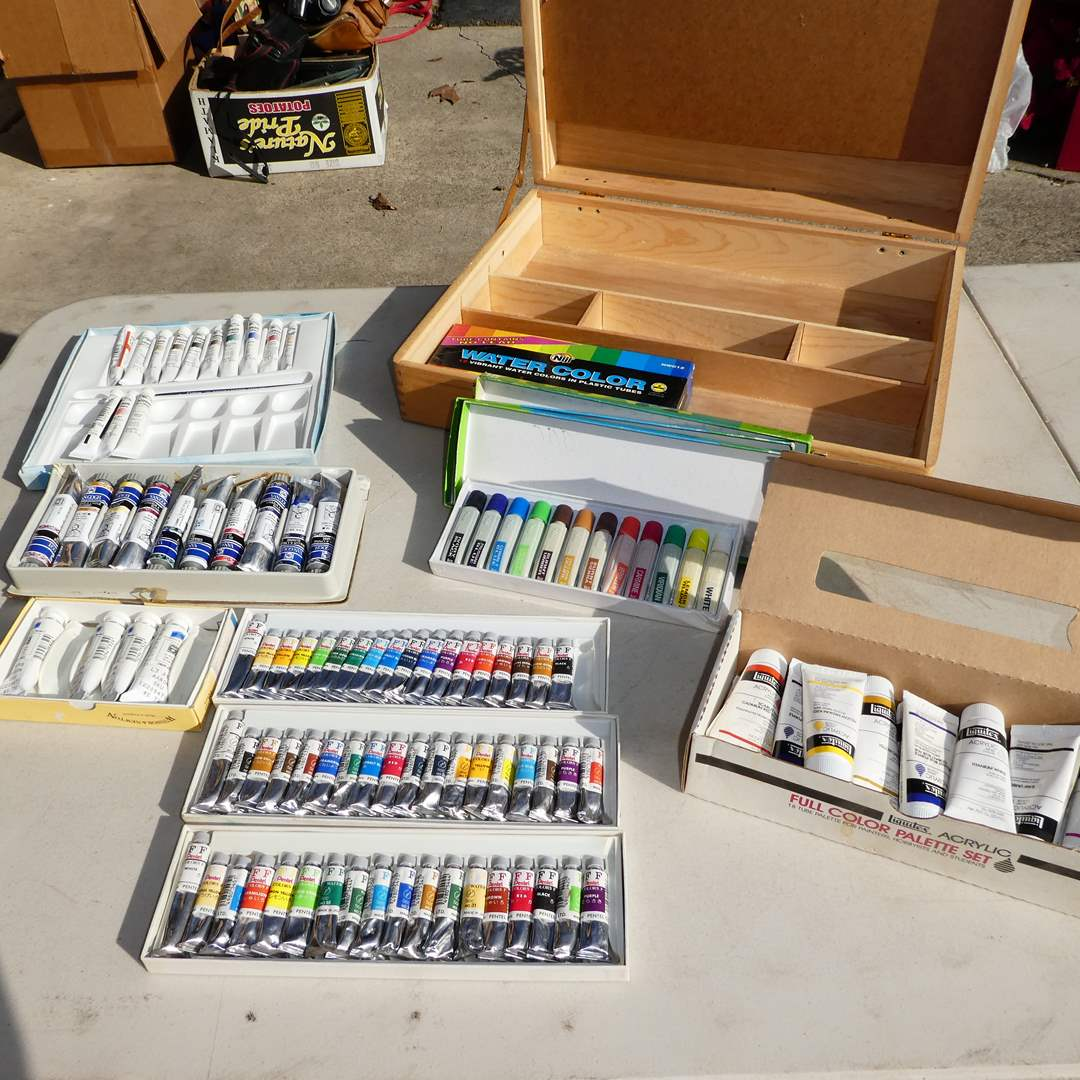 Lot # 345 - Variety of Quality Paint and Art Box (Cotman Water Colors, Liquitex Acrylics and FF Pentel)( See all Photos) (main image)