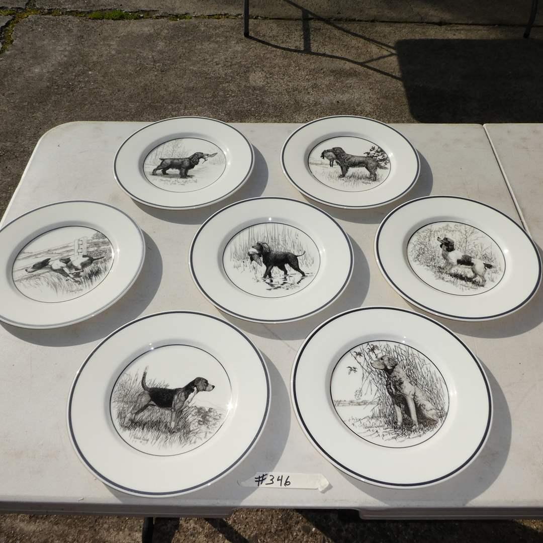 "Lot # 346 -  7 Lenox ""Richard E. Bishop"" Hunting Dog Plates  (main image)"