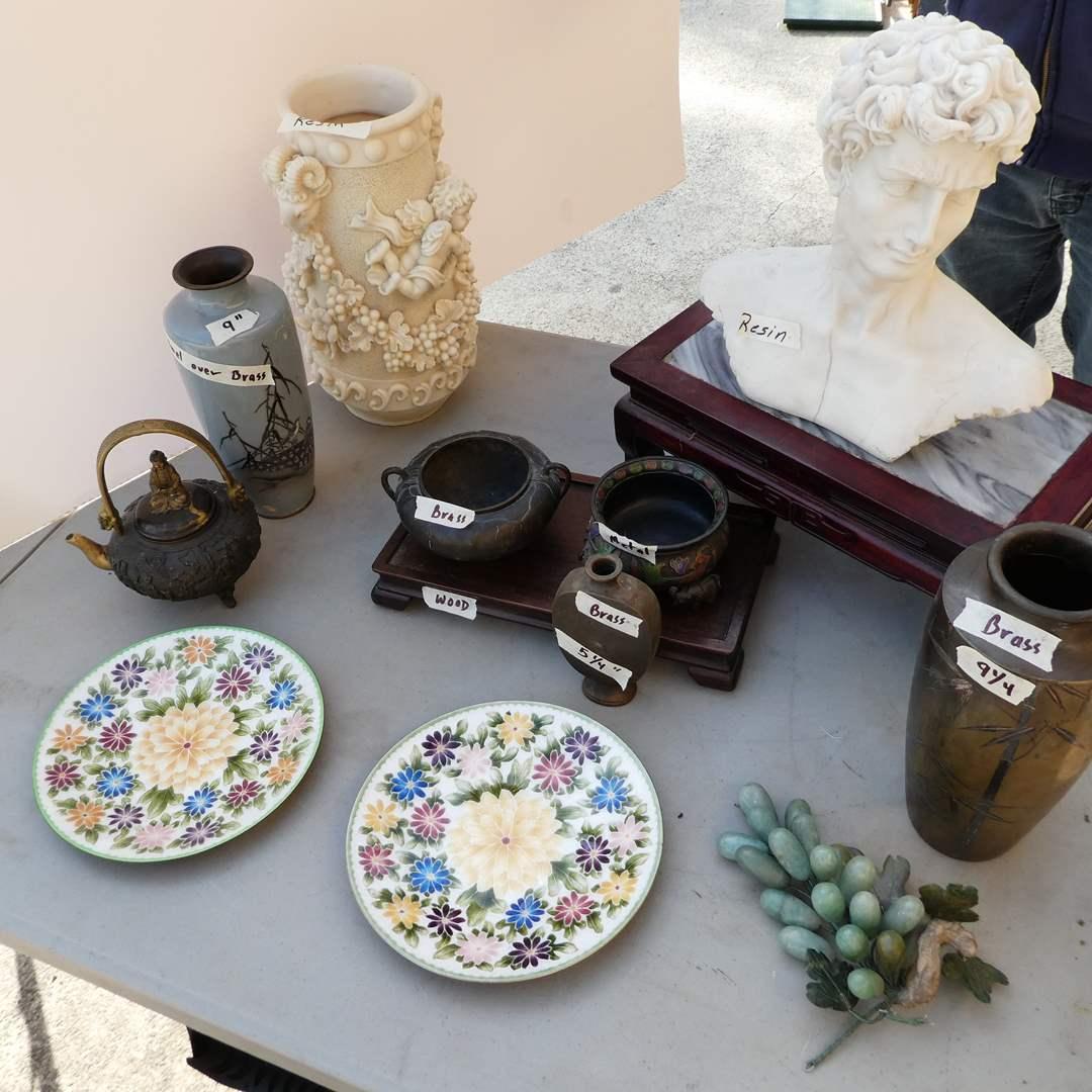 Lot # 347 - Vintage Metal Japanese Cloisonne Enamel Plates & Bird Vase, Brass Pieces, Wooden Stands and Resin Decor (main image)
