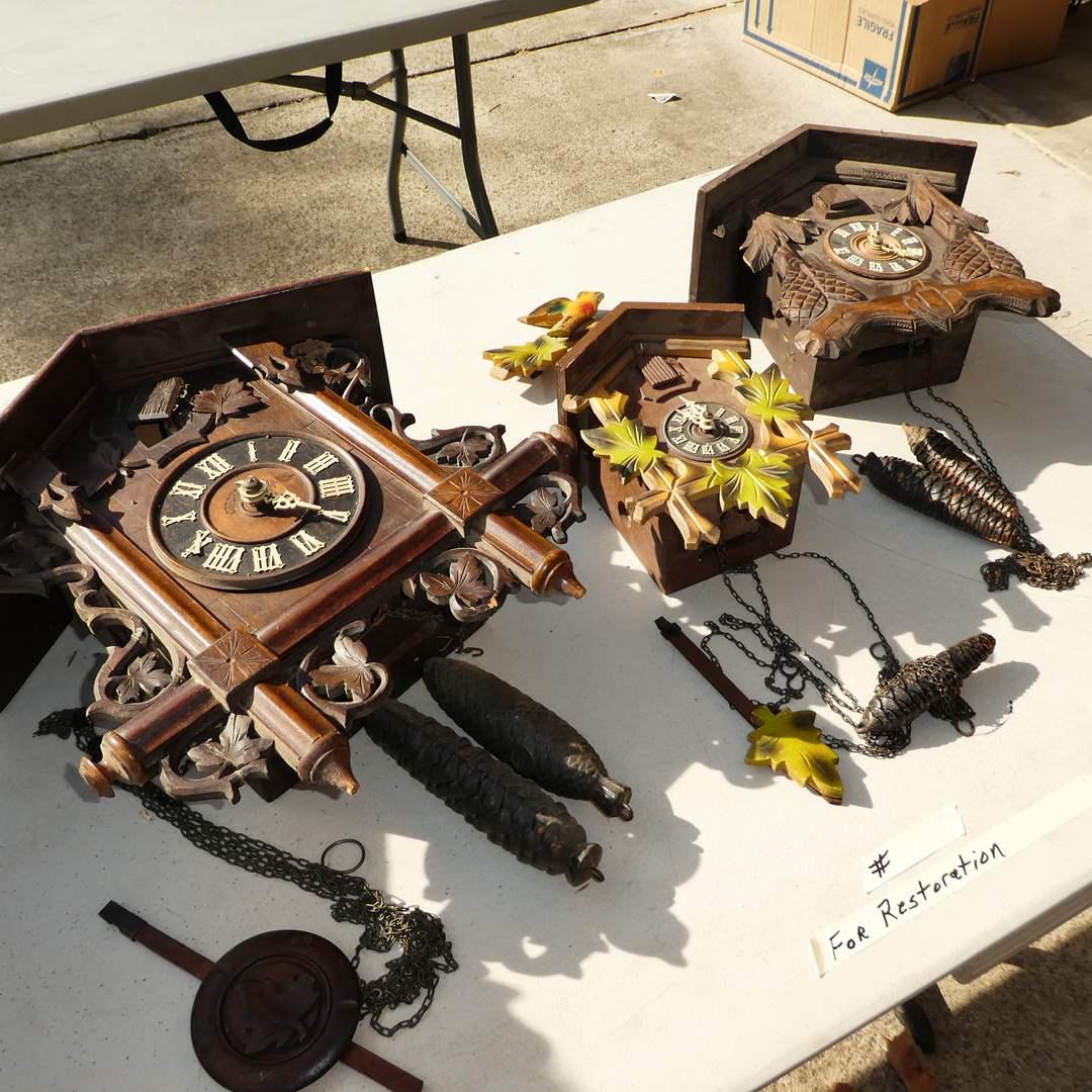 Lot # 348 - Three Vintage Cuckoo Clocks for Restoration (Germany, Switzerland & Czechoslovakia made) (main image)