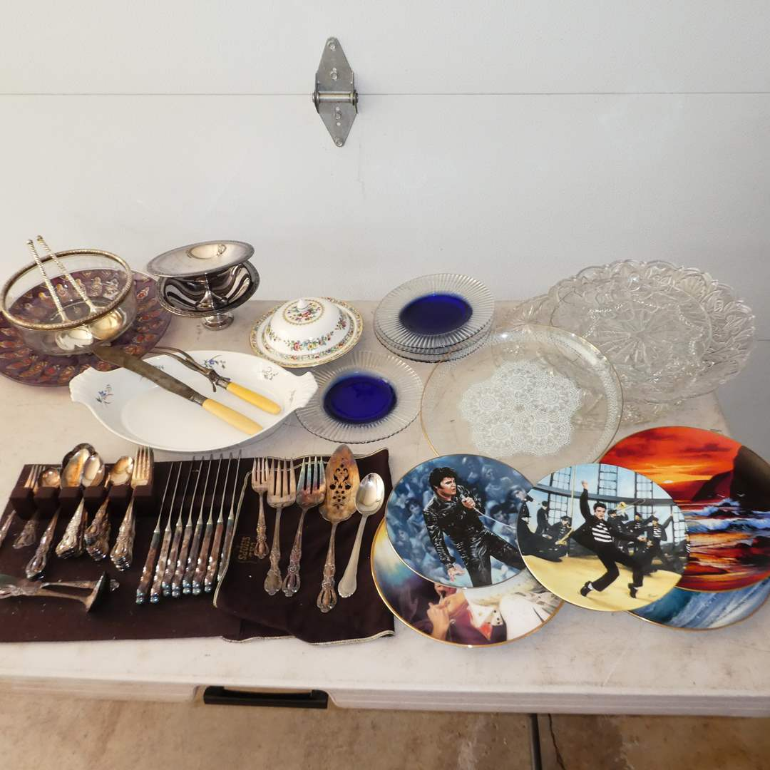 Lot # 350 - Vintage Plates, Serving Platers, Flatware, Collector Elvis Plates and More! (main image)