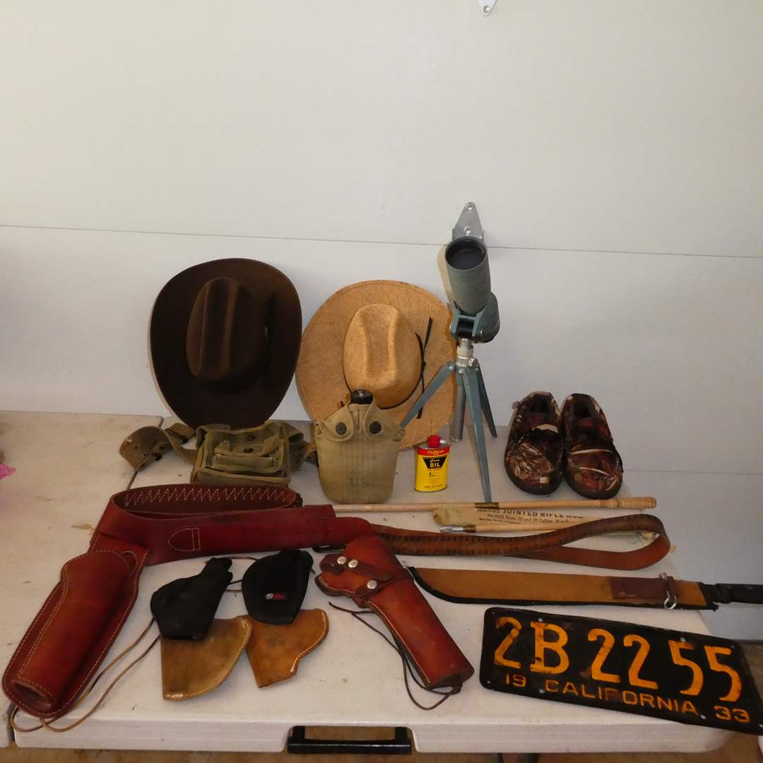 Lot # 353 -  Vintage Mens Lot (1933 CA License Plate, Holsters, Military Canteen, Hat, Telescope, and Other Collectible Items) (main image)