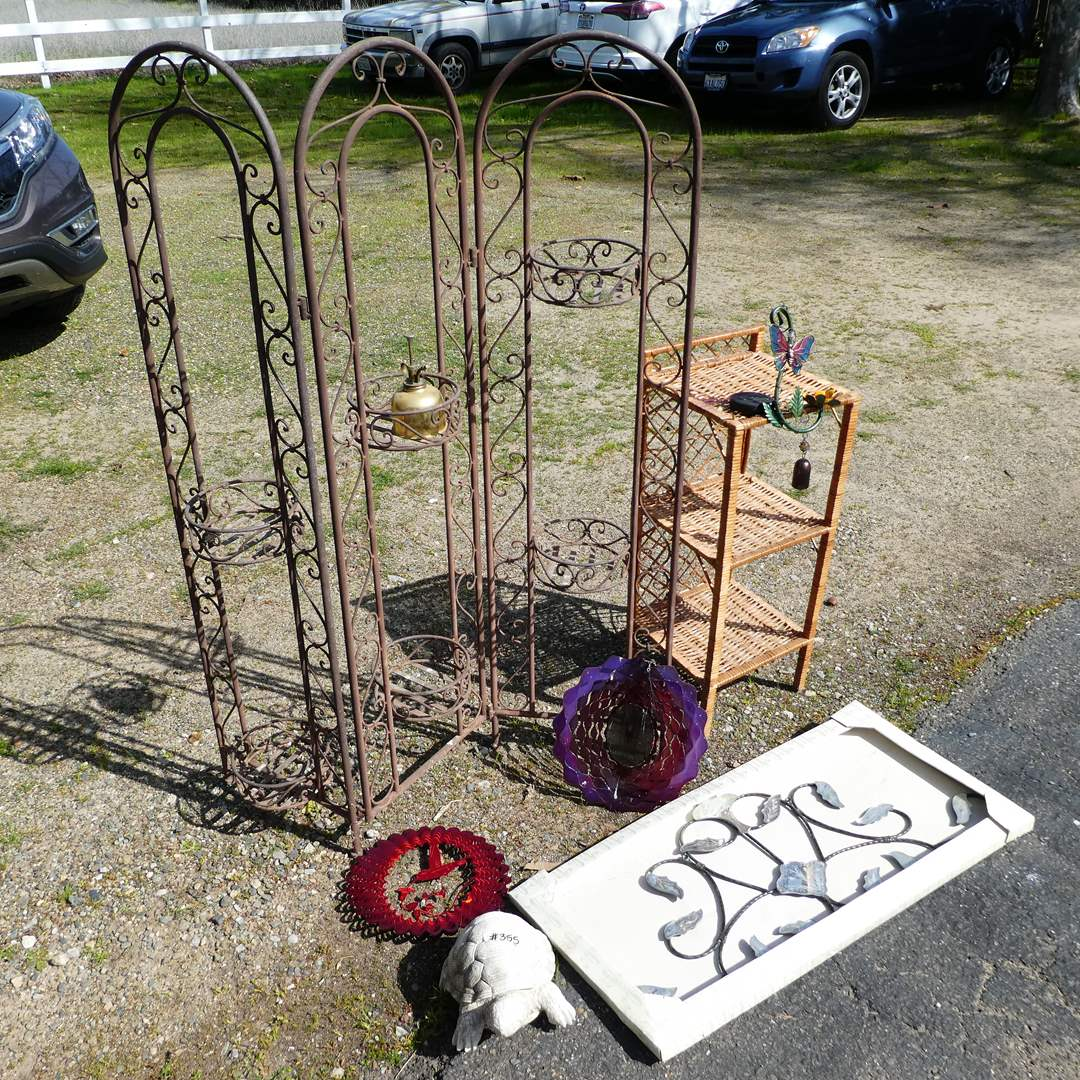 Lot # 355 - Outdoor Decor Lot (Metal Folding Plant Stand and Decor) (main image)