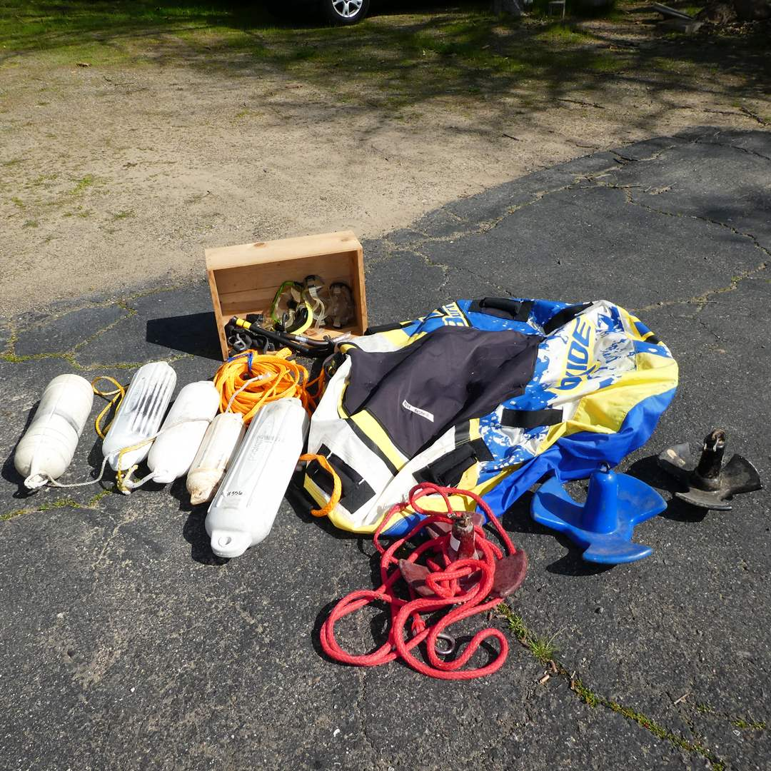 Lot # 356 - Boating Lot (3 Anchors, 4 Boat Fenders, Wake Tub and Goggles) (main image)
