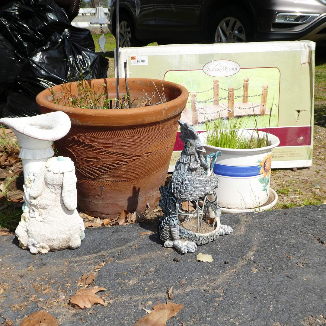 Lot # 357 - Garden Decor Lot (Pots, Wooden Bridge in Box and More) (main image)