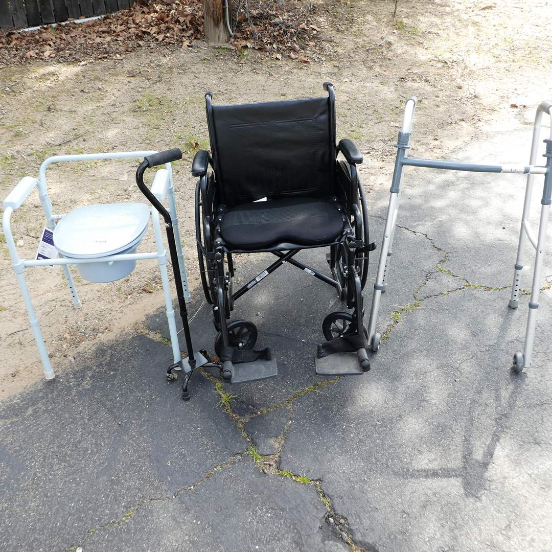 Lot # 358 - ProBasics WheelChair, Walker, Cane and Drive Medical Bedside Toilet w/ Tags (main image)