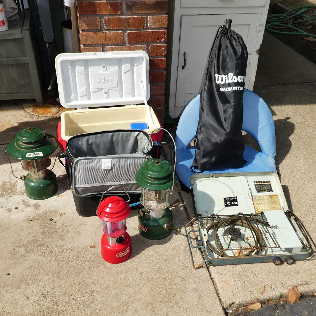 Lot # 360 - Camping Lot (Coleman Lanterns, Ice Chests, Foldable Seat, Ice Packs and Badminton)  (main image)