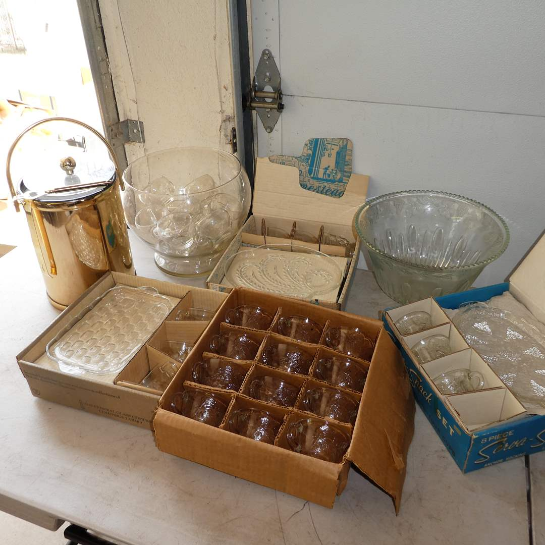 Lot # 361 - Vintage Punch Bowls and Snack Trays w/ Ice Bucket (main image)