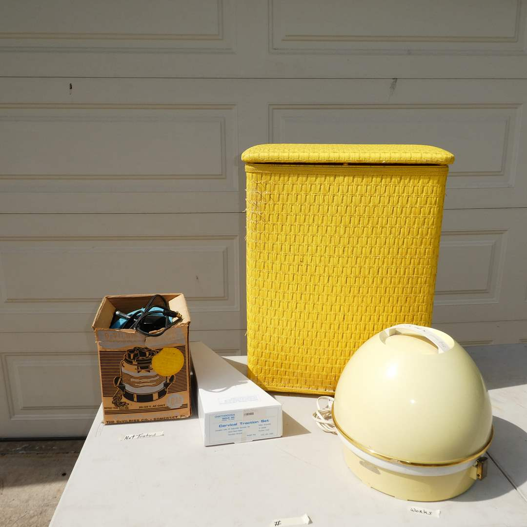 Lot # 362 - Vintage Ladies Lot (Oster Professional Beauty Salon Hair Dryer, Yellow Hamper and More) (main image)