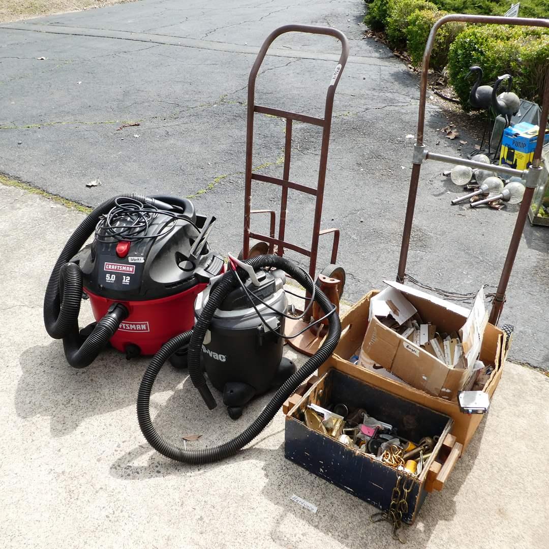Lot # 364 -  Craftsman ShopVac, Shop Vac, Two Dollies and Misc Hardware (main image)