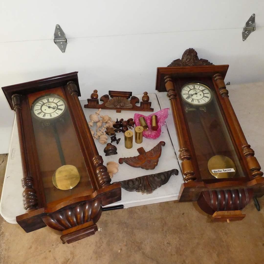 Lot # 368 - 2 Antique Vienna Regulators - One Gustva Becker - Both Weight Driven  (main image)