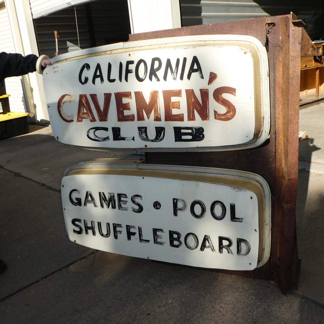 """Lot # 100 - Large Vintage Double Sided """"California Cavemen's Club"""" Advertising Sign - Games, Pool & Shuffleboard (main image)"""