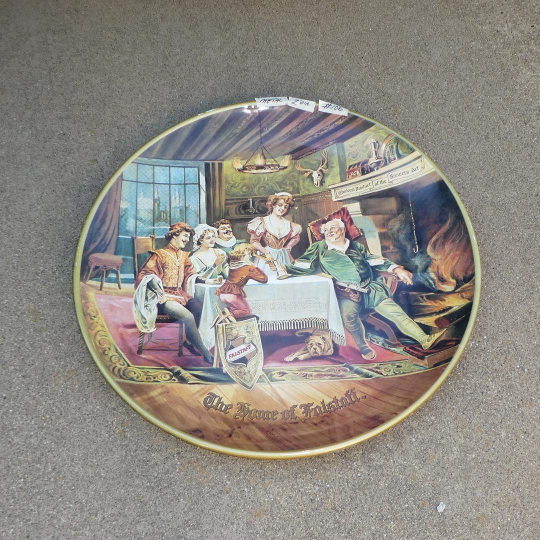Lot # 106 - Large Vintage 'Falstaff' Beer Advertising Tray - Reproduced in 1974  (main image)
