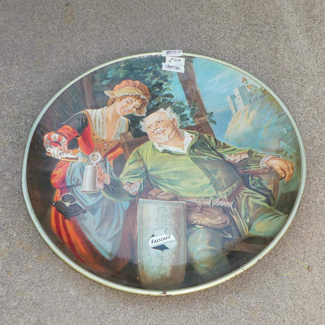 Lot # 107 - Large Vintage 'Falstaff' Beer Advertising Tray - Reproduced in 1971  (main image)