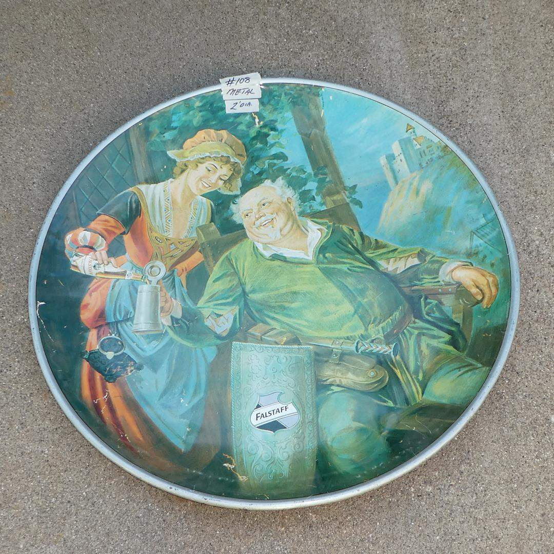 Lot # 108 - Large Vintage 'Falstaff' Beer Advertising Tray - Reproduced in 1971  (main image)