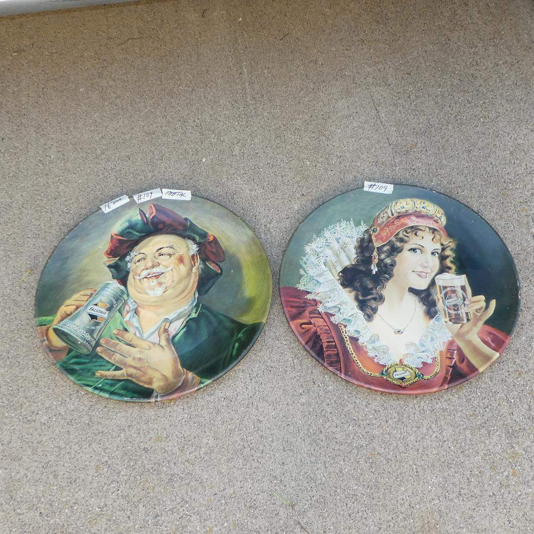 Lot # 109 - Two Large Vintage 'Falstaff' Beer Advertising Trays - Reproduced in 1971  (main image)