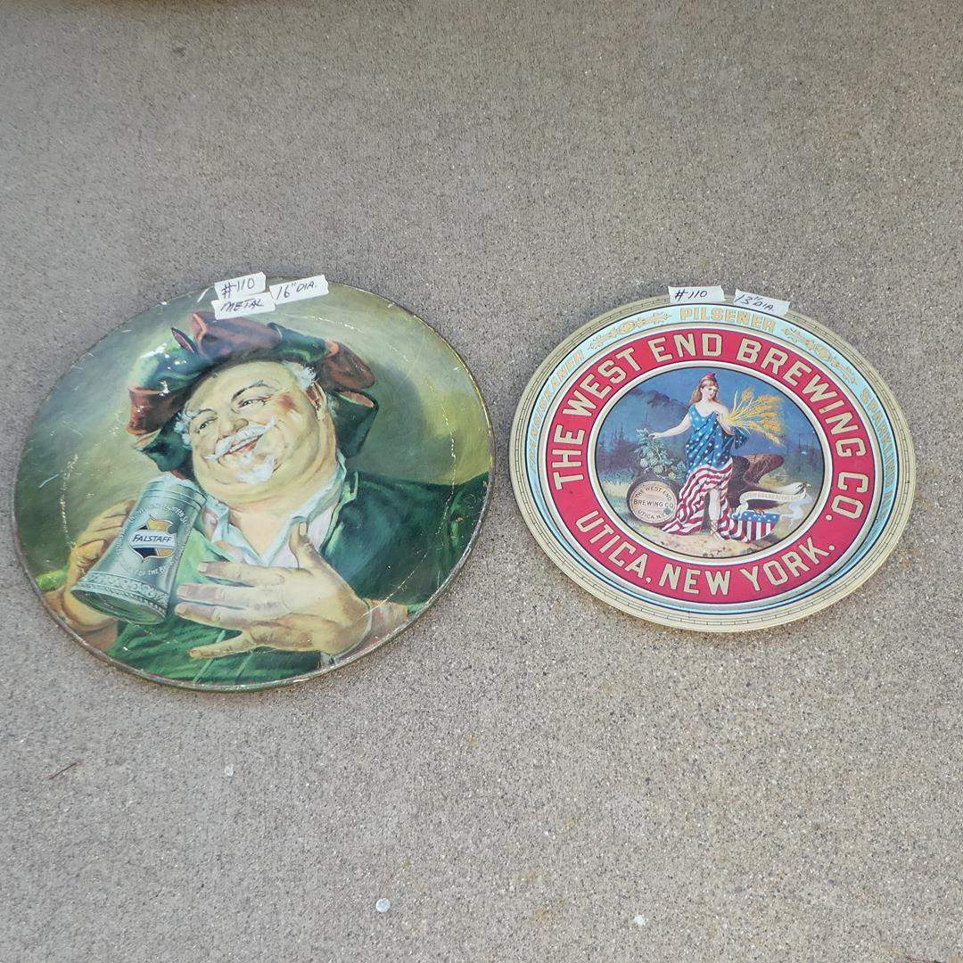 Lot # 110 - Vintage 'Falstaff' Beer Advertising Tray Reissued in 1971 & 'The West End Brewing Co.' Advertising Tray (main image)