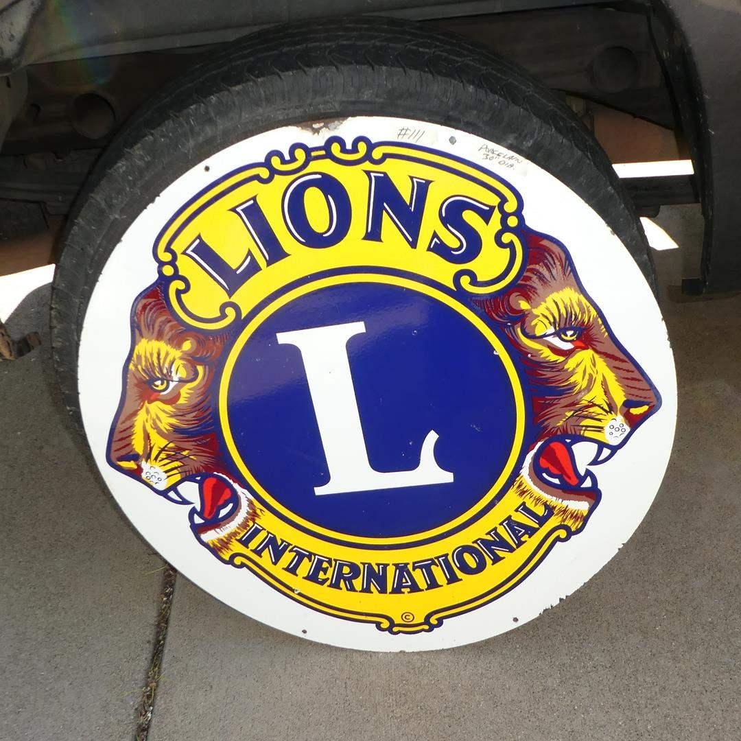 Lot # 111 - Large Vintage 'Lions International' Porcelain Enameled Metal Advertising Sign (main image)