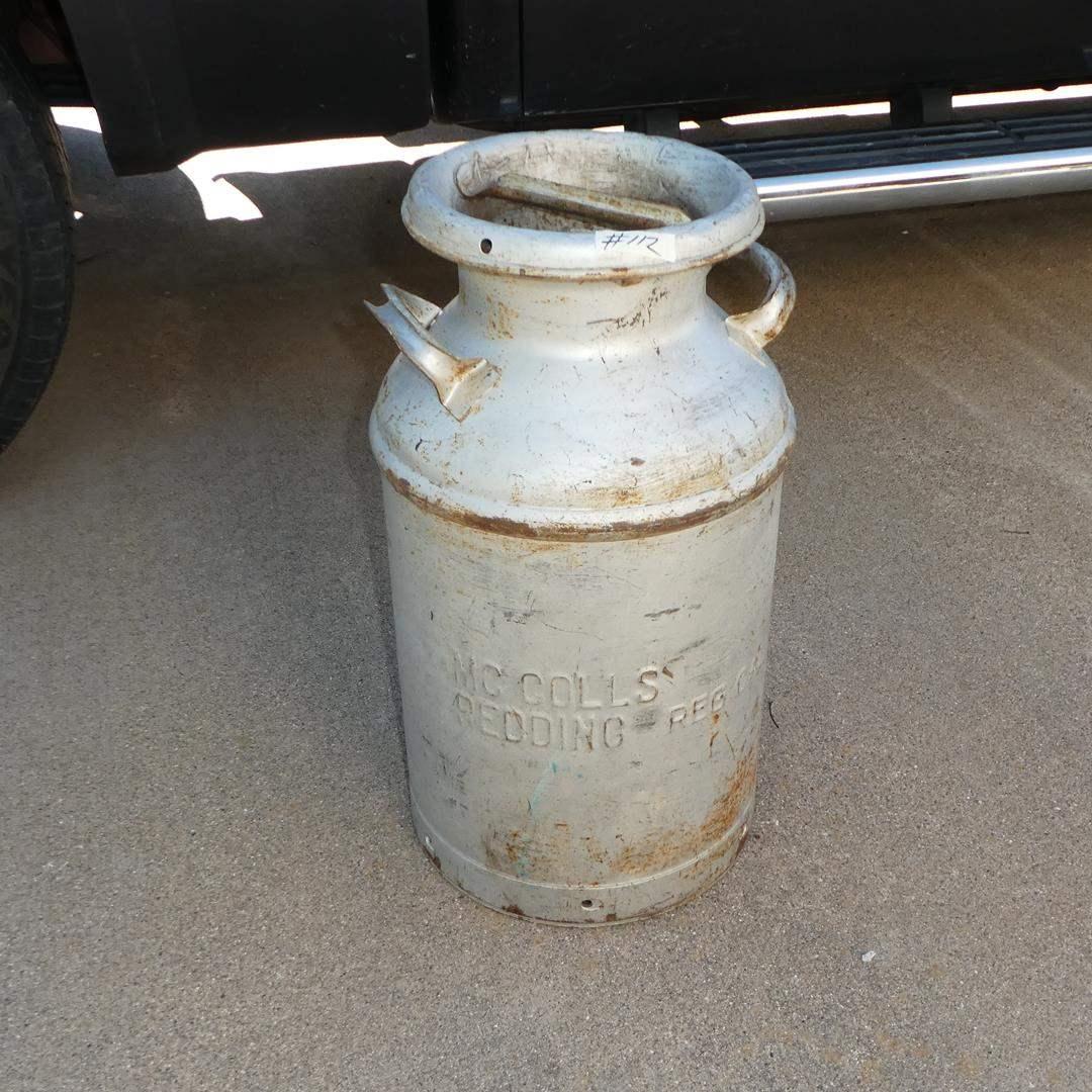 Lot # 112 - Local Antique McColl's Redding Ca. Milk Can   (main image)