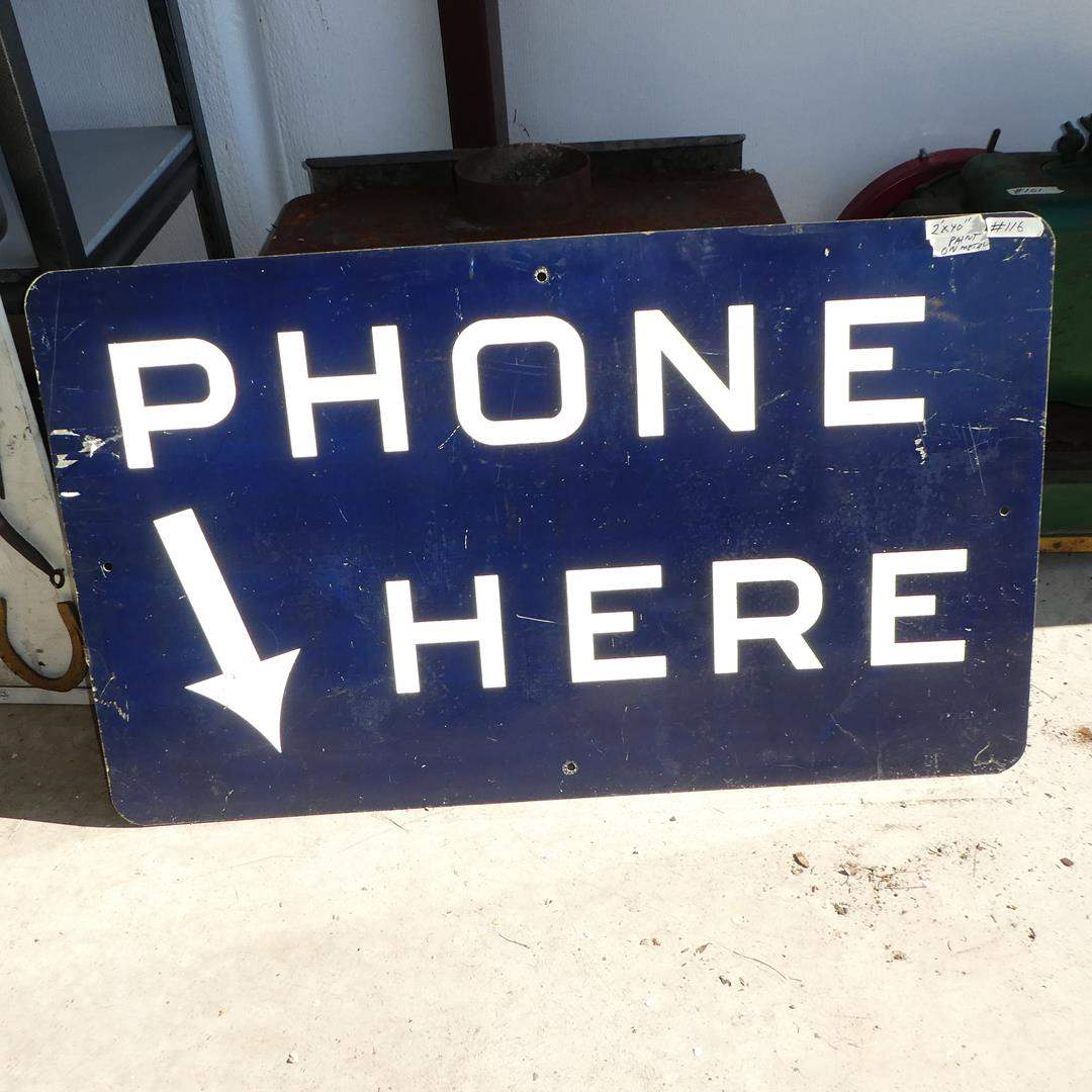 "Lot # 116 - Vintage Painted Metal ""Phone Here"" Sign (main image)"