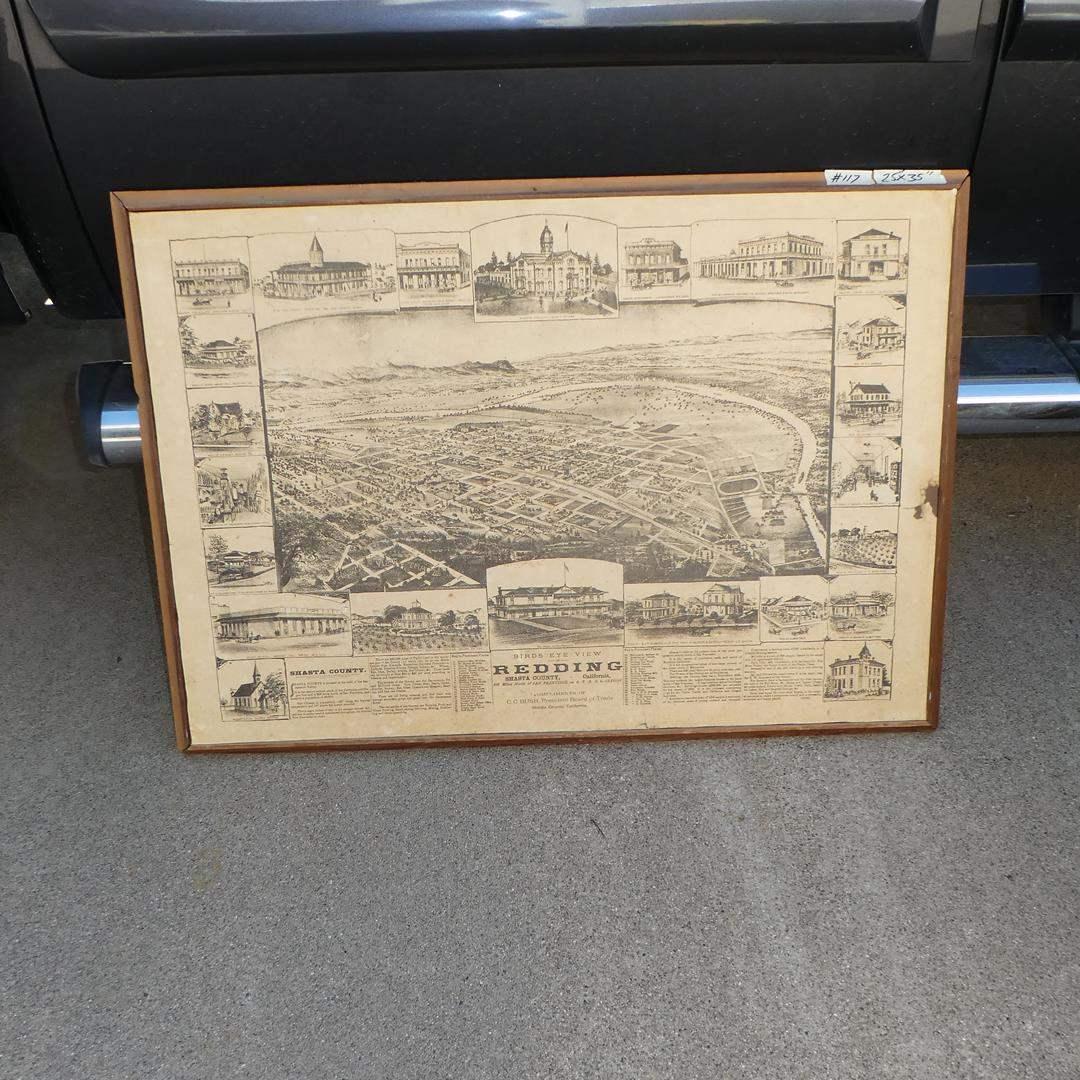 "Lot # 117 - Framed Vintage ""Birds Eye View"" Map of Redding Shasta County Ca. (main image)"