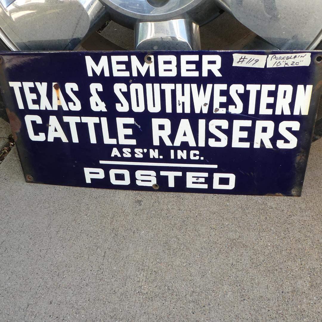 "Lot # 119 - Vintage Porcelain Enamel Metal Sign ""Texas & Southwestern Cattle Raisers"" (main image)"