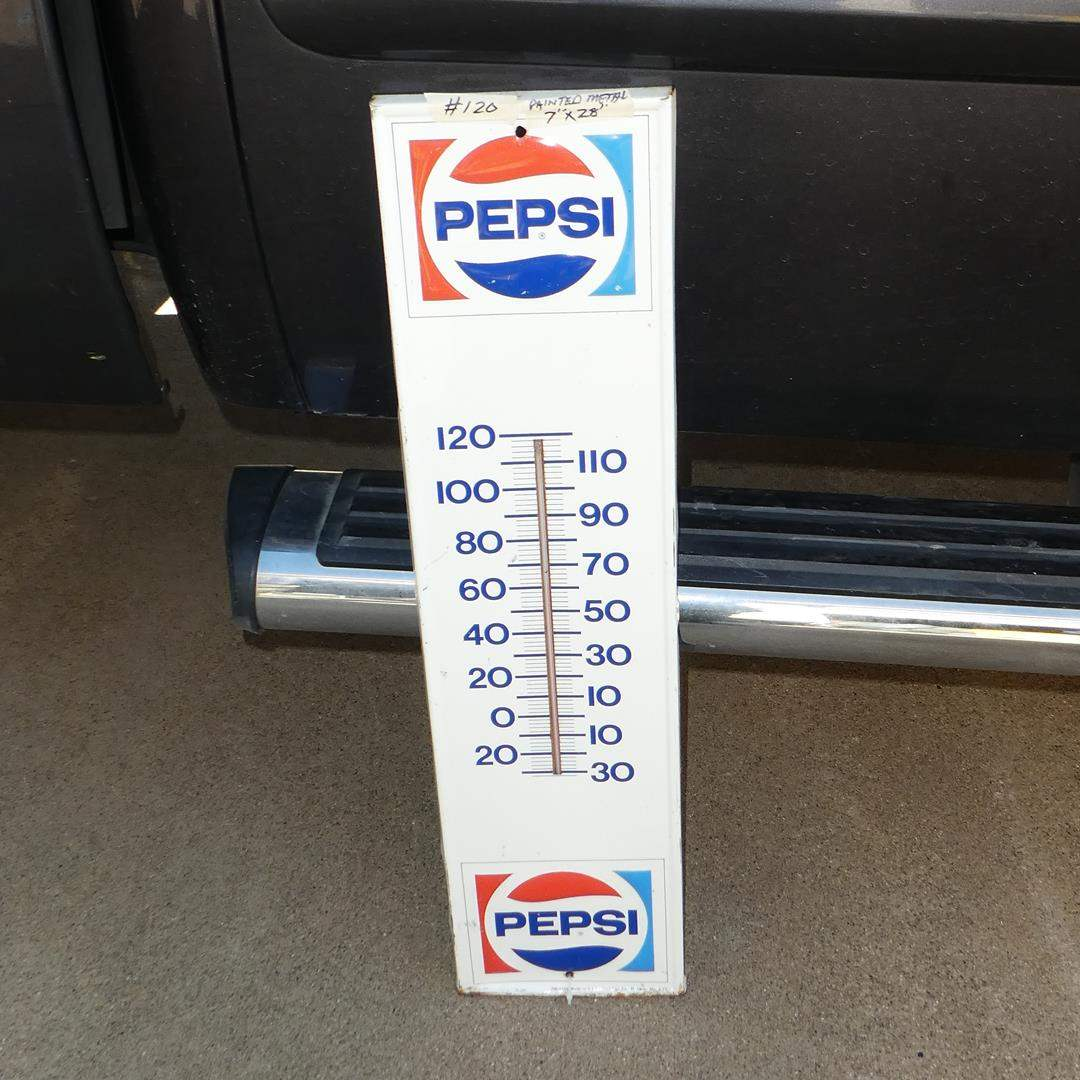 Lot # 120 - Large Vintage Painted Metal 'Pepsi' Thermometer (main image)