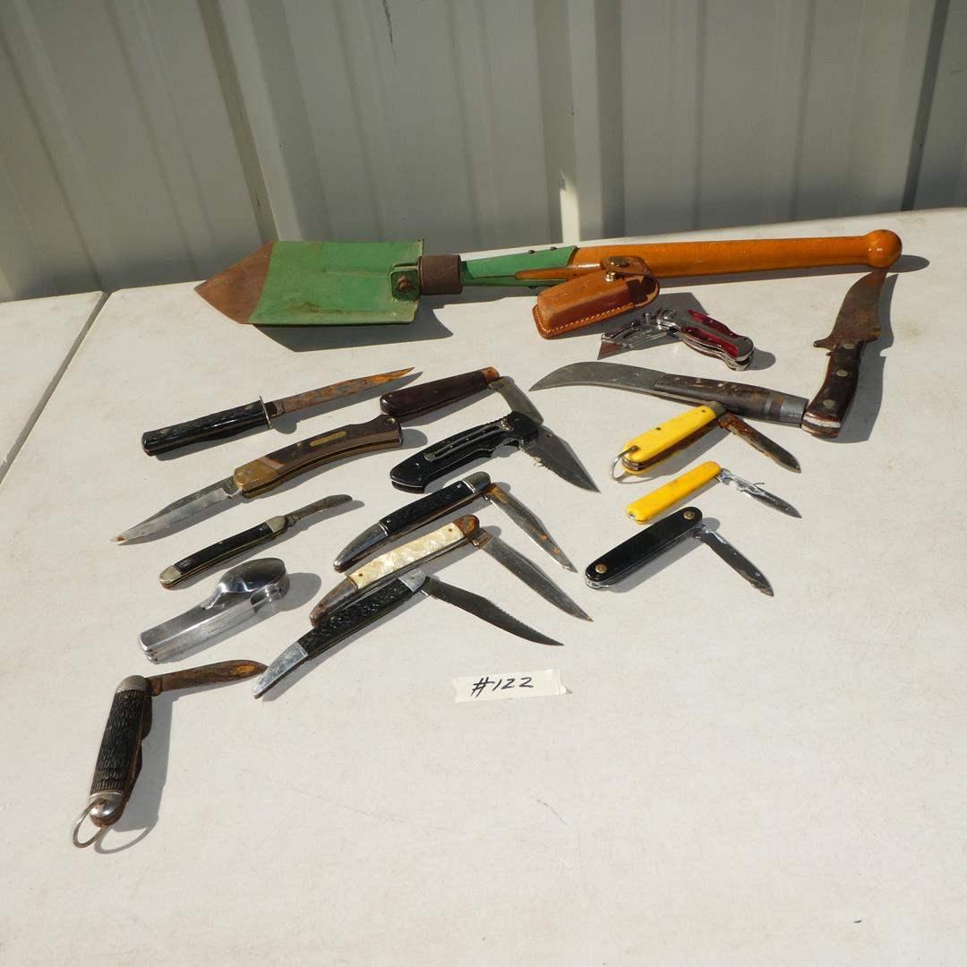 Lot # 122 - Vintage Pocket Knives Collection & Romanian Folding Shovel (main image)