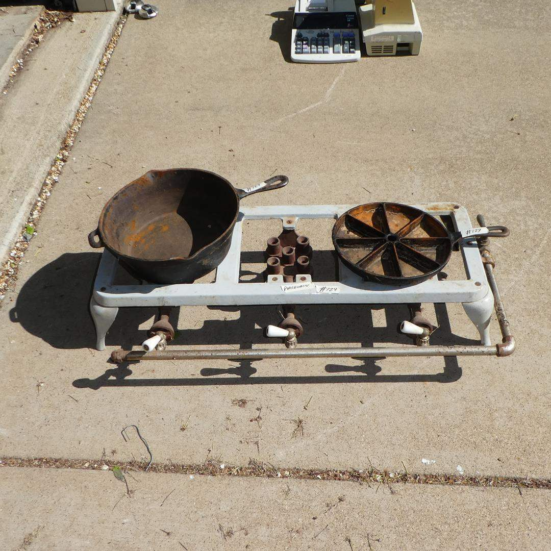 Lot # 124 - Antique Porcelain Cast Iron Three Burner Gas Stove & Two Cast Iron Pans (main image)