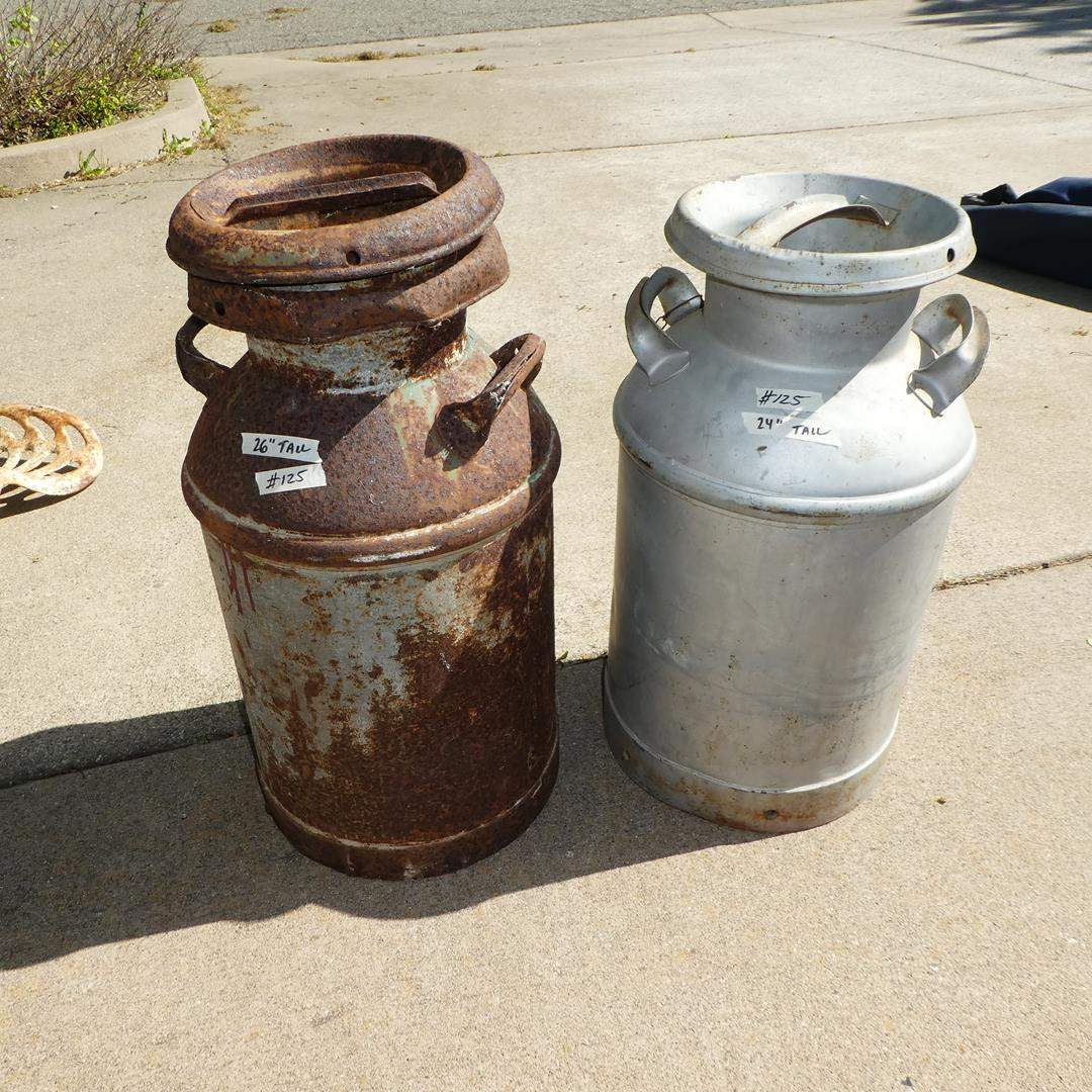 Lot # 125 -  Two Vintage Milk Cans  (main image)